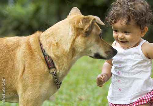 Photo  infant and dog