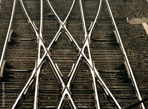 Aluminium Prints Railroad rails en croix