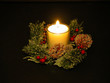 canvas print picture - white christmas candle