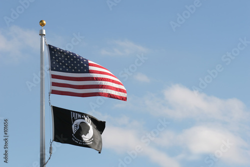 Photo  american and pow mia flags