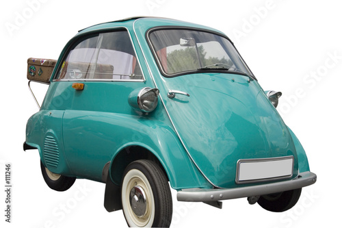 Photo  bmw isetta with an old case