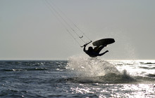 Kite Boarder Jumping On The Oc...