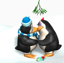 Penguins Kissing Under The Mis...