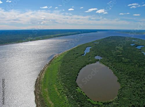 Fototapeta yenisei river-aerial view obraz