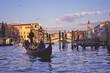 canvas print picture - gondola by rialto bridge
