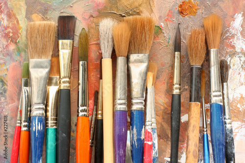 Fotografering art paint brushes & palette