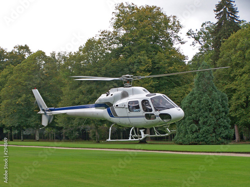 Tuinposter Helicopter white helicopter