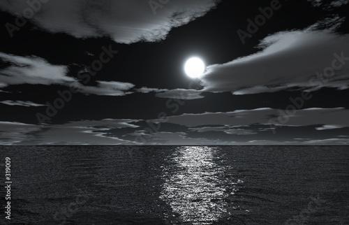 Poster Pleine lune moonnight on sea