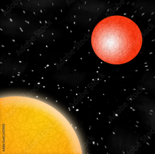 sun and red planet Wallpaper Mural