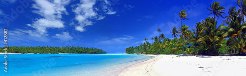 Poster Tropical plage panoramic lagoon