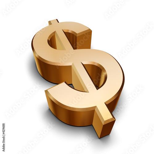 Fotografie, Obraz  3d golden dollar symbol