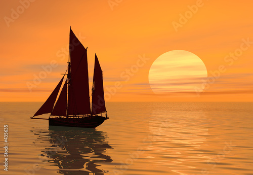 Poster Brick sunset boat