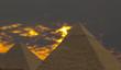 Leinwandbild Motiv pyramids under stormy sky