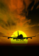 canvas print picture plane @ sunset