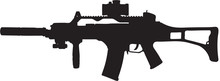 Military Assault Rifle Clip Art With Clipping Path