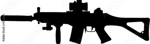 Valokuva military assault rifle clip art with clipping path