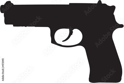 Fotomural  9mm semi-automatic gun clip art with clipping path