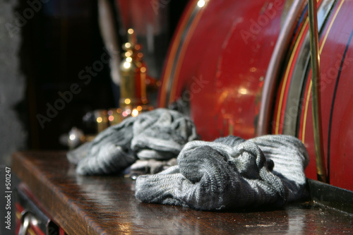 oily cloths left on steam engine