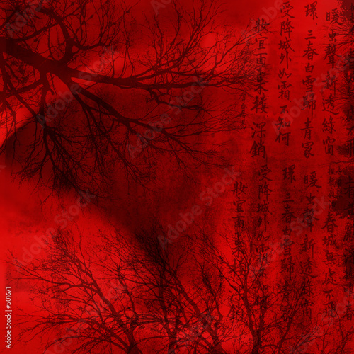 chineese red background with signs