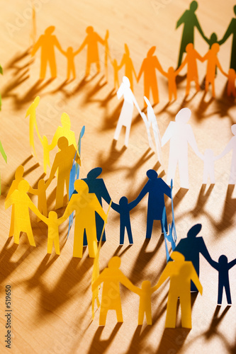 multicolored papery people Canvas Print