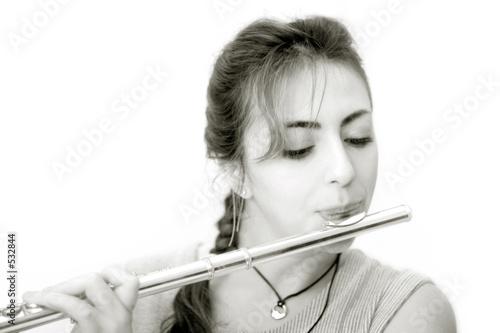 Fotografie, Obraz  beautiful flutist (horizontal)