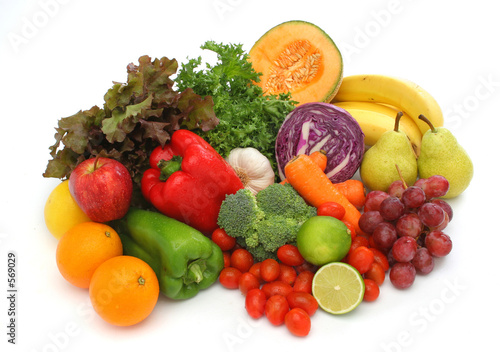 Keuken foto achterwand Keuken colorful fresh group of vegetables and fruits