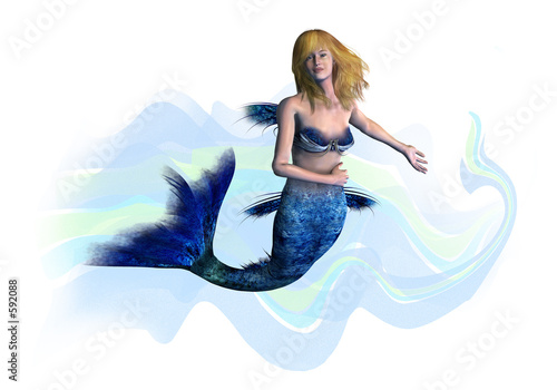 Wall Murals Mermaid blonde mermaid - includes clipping path