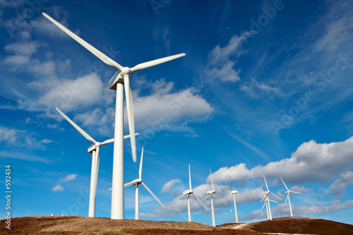 Deurstickers Molens wind turbines farm