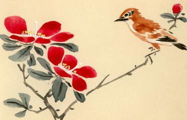 Panel Szklany Orientalny sitting bird