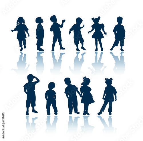 Photo  kids silhouettes