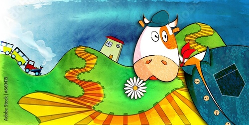 Fototapeta dla dzieci   krowa-do-pokoju-dziecka