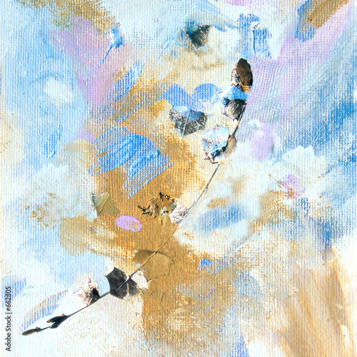 painting with gold leaf and twig