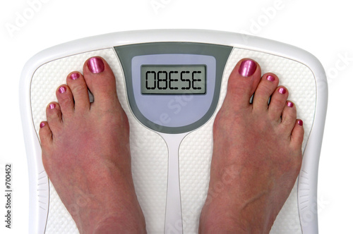 feet on a bathroom scale - isolated Wallpaper Mural