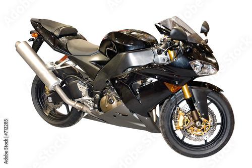 czarny motocykl wyścigowy na białym tle
