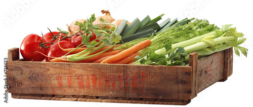 Poster Fresh vegetables crate of healthy vegetables