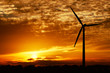 canvas print picture - wind energy and golden sunset