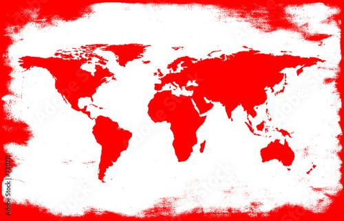 In de dag Wereldkaart white-red grunge map