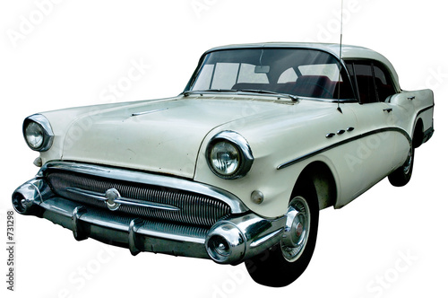 Foto op Canvas Oude auto s classic white retro car isolated