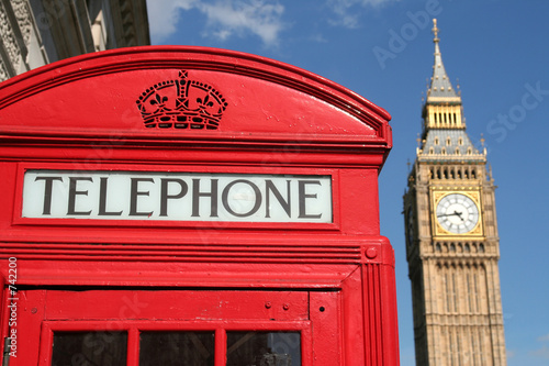 Fotografie, Tablou  phone box and big ben, london