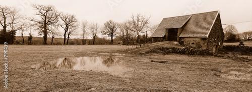 Grange Ancienne Et Mare De Pluie En Auvergne Buy This Stock Photo
