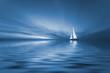 Leinwandbild Motiv sailing and sunset