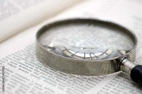 Photo magnifying glass on page