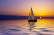 canvas print picture sailing at sunset