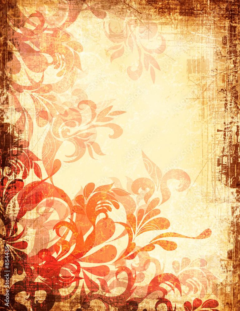 Foto-Stoff bedruckt - fiery aged grunge backdrop