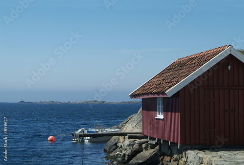 red boathouse Fototapete