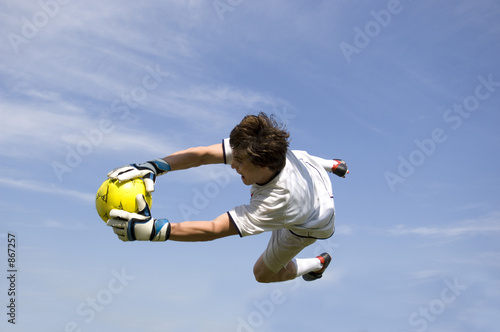 Leinwand Poster soccer - football goal keeper making save