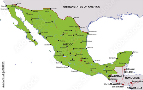 Map Mexico Landkarte Mexiko Buy This Stock Illustration And