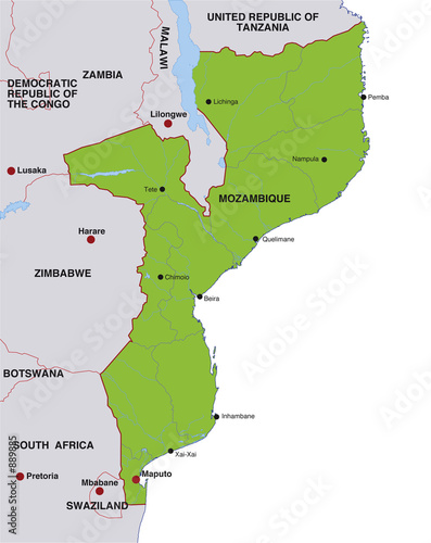 Map Mozambique Landkarte Mosambik Buy This Stock Illustration