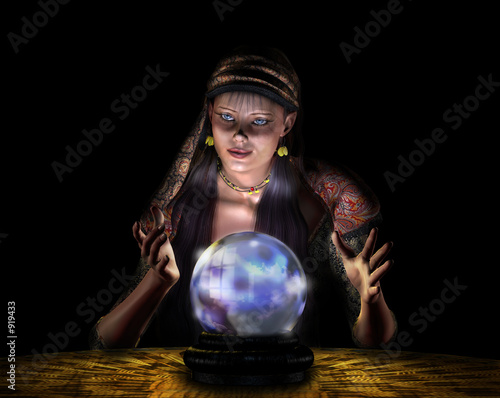 Valokuva  fortune teller - on black