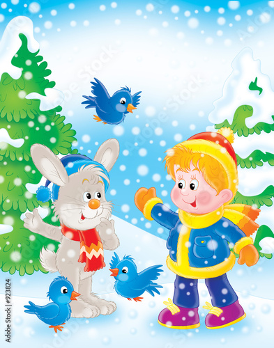 Poster Oiseaux, Abeilles boy, rabbit and birds in new year's wood